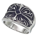 Sovereign Scroll Design Stainless Steel Ring - JSS0131