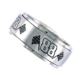 Number 88 Racing Ring with Checker Flag - Spinner Ring - JSS0603