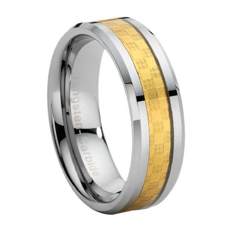 Tungsten Carbide Ring With Gold Carbon Fiber Inlay
