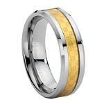 Tungsten Carbide Ring with Gold Carbon Fiber Inlay - JTG0025