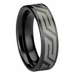 Black Tungsten Ring with Aztec Design - JTG0041