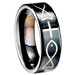 Cross and Fish Tungsten Ring - JTG0056
