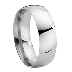 Sterling Silver High Polish His and Hers Wedding Rings- 8mm