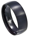 Men's Stainless Steel Black Wedding Band with Matte Finish | 8 MM