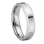 Tungsten Carbide Wedding Ring with Beveled Edges and Polished Finish
