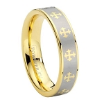 Tungsten Carbide Cross Ring with Gold PVD Plating - JTG0017