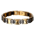 Men's Stainless Steel Gold IP Car Grille Polish Finished Bracelet