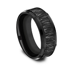 Designer Black Titanium 8mm Comfort-fit Drop Beveled Edge Bark Pattern Design Ring