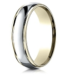 Designer 4 mm Two-toned Polished Finish 14K Yellow & White Gold Wedding Band - JB1143