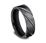 Designer Black Titanium 7mm Comfort-Fit Swirl Pattern Design Ring