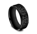 Black Titanium 8mm Comfort Fit with Black Cobalt Hammered Finish Center