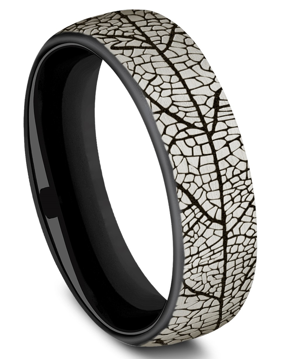 Benchmark 6.5mm Black Titanium Leaf Design Men's Ring