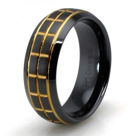 Black Ceramic Golden Groove Ring