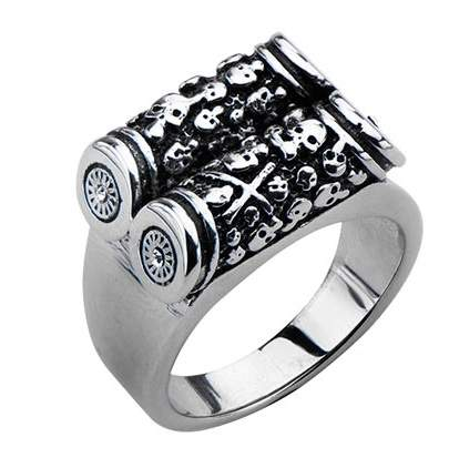 Stainless Steel Two Bar Scroll Skull Ring