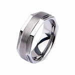Men's Stainless Steel in Octagon Shape Ring with Comfort Fit
