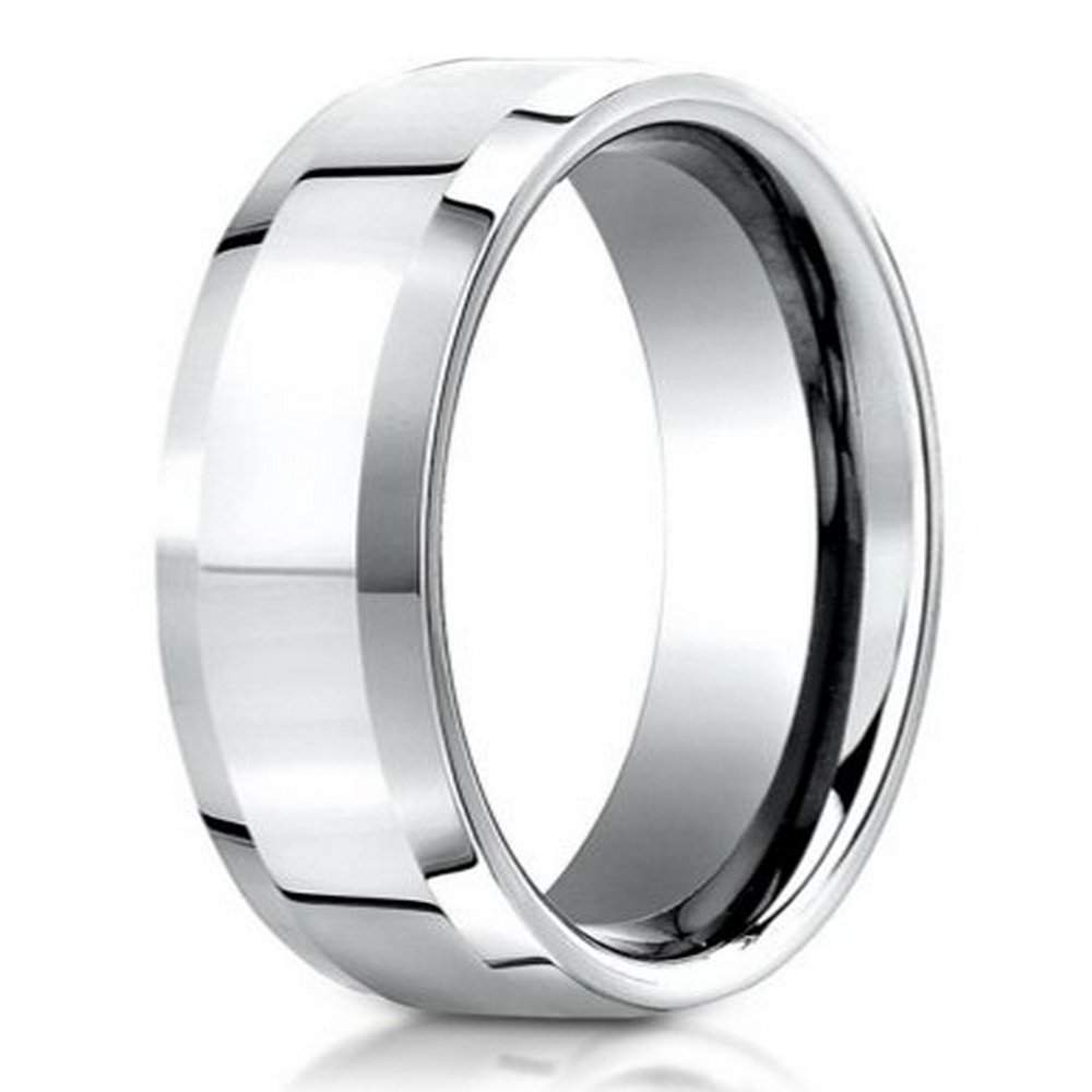 palladium wedding ring with polished finish and beveled edges 6mm jb01176 - Palladium Wedding Rings