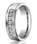 Palladium Designer Wedding Ring with 7 Round Diamonds on Satin Finished Band | 6mm - JB01179