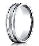 Men's Designer 950 Platinum Wedding Ring with Polished Grooves | 6mm