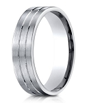 Designer 950 Platinum Men's Wedding Ring With Parallel Cuts | 6mm