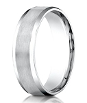 Designer 950 Platinum Men's Wedding Ring With Beveled Edges | 6mm
