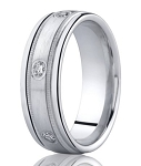 Designer 950 Platinum Bezel Set Diamonds Men's Wedding Ring | 8mm