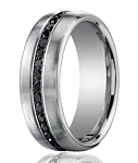 Designer 950 Platinum Black Diamond Men's Wedding Ring | 7.5mm