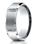 Palladium Designer Men's Wedding Ring With Polished Grooves | 8mm