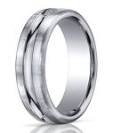 Designer Palladium Men's Wedding Ring With Carved Center | 7.5mm