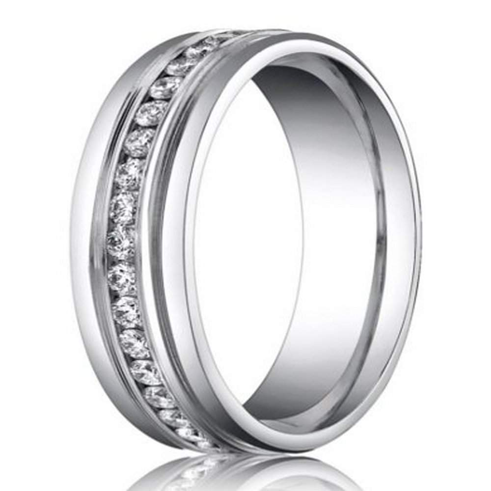 6mm benchmark palladium mens diamond eternity wedding ring justmensringscom - Palladium Wedding Rings
