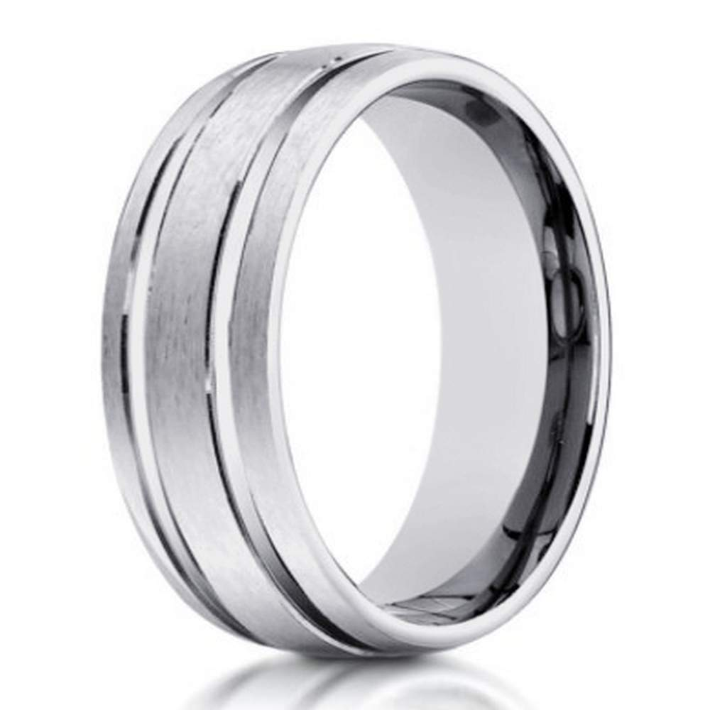 Men's Designer 10K White Gold Wedding Ring With Polished Lines | 6mm