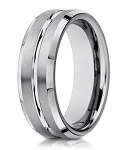 Men's Designer 10K White Gold Wedding Band With Polished Beveled Edges | 6mm