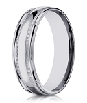 Designer 10K White Gold Men's Wedding Ring With Milgrain | 6mm