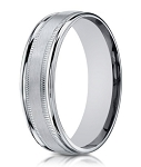 Designer 10K White Gold Wedding Ring With Milgrain Lines | 6mm