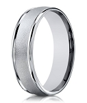 Designer 10K White Gold Men's Wedding Band With Sandblasted Center | 6mm