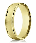 Men's 10K Yellow Gold Wedding Band With Sandblasted Center | 6mm