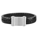 Men's Braided Black Leather Bracelet  - JBR1002
