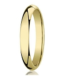 Designer 3 mm Domed Comfort-fit 10K Yellow Gold Wedding Band - JB1001
