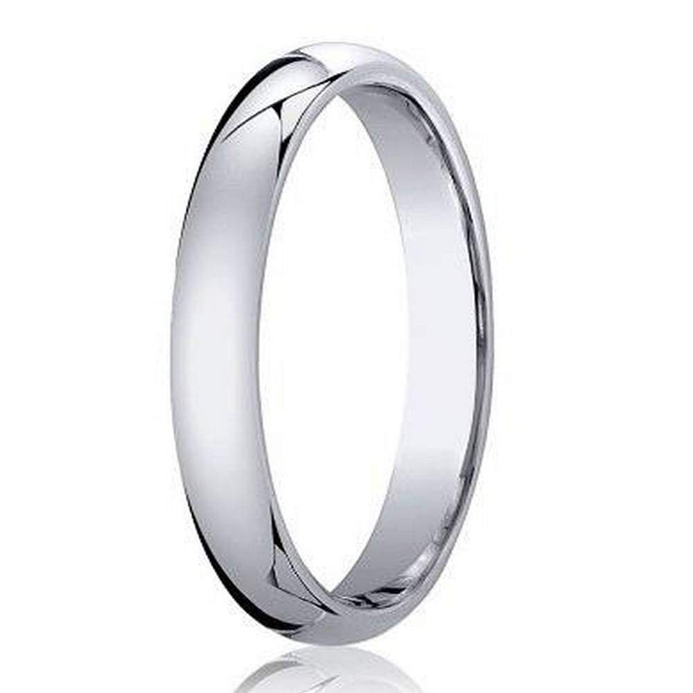 designer 3 mm domed comfort fit 10k white gold wedding band jb1007 - Man Wedding Ring