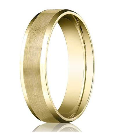 Designer 4 mm Beveled Edge Satin Finish Comfort-fit 14K Yellow Gold Wedding Band - JB1025
