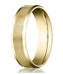 18K Yellow Gold Men's Designer Wedding Band, Beveled Edges | 8mm