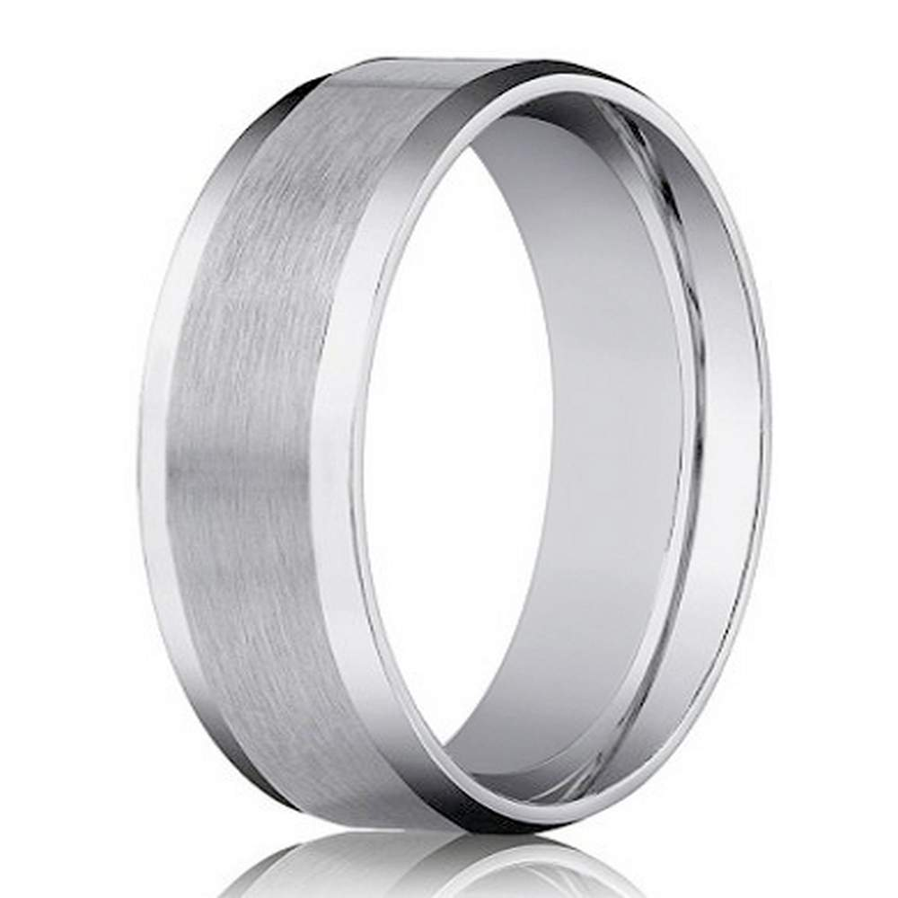 It is a graphic of Designer 42 mm Beveled Edge Satin Finish Comfort-fit 42K White Gold Wedding Band - JB42