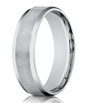 Designer 6 mm Beveled Edge Satin Finish Comfort-fit 14K White Gold Wedding Band - JB1029