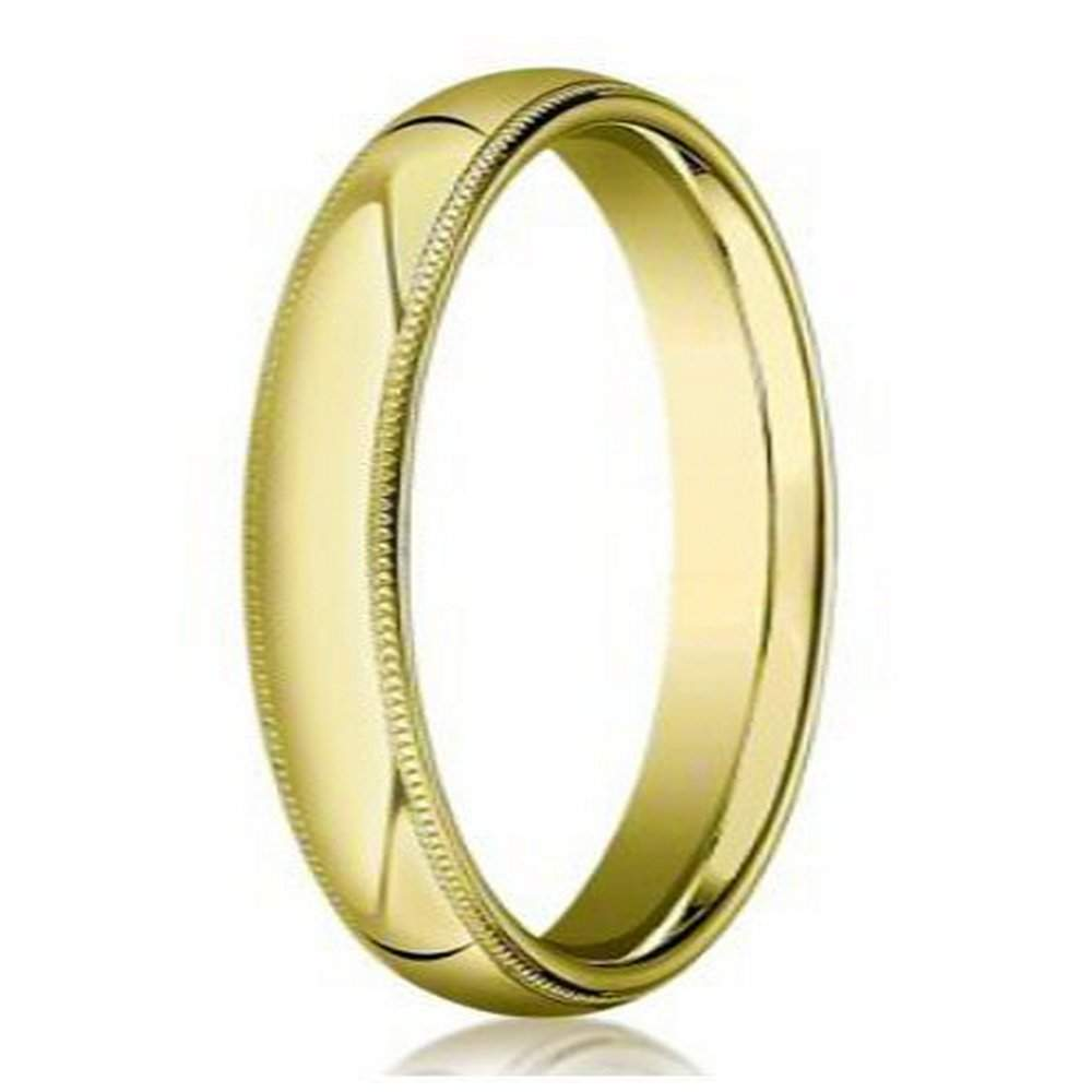 Designer 5 mm Domed Milgrain Polished Finish with Comfort-fit 14K Yellow Gold Wedding Band - JB1061