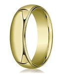Designer 8 mm Domed Milgrain Polished Finish with Comfort-fit 10K Yellow Gold Wedding Band - JB1046