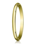 Designer 2 mm Traditional Fit Milgrain 10K Yellow Gold Wedding Band - JB1100