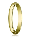 Designer 3 mm Traditional Fit Milgrain 10K Yellow Gold Wedding Band - JB1101