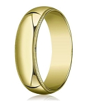 Designer 7 mm Traditional Fit Milgrain 14K Yellow Gold Wedding Band - JB1118