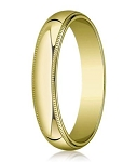 Designer 5 mm Traditional Fit Milgrain 14K Yellow Gold Wedding Band - JB1120