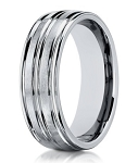 Designer 8 mm Engraved & Polished Finish 14K White Gold Wedding Band - JB1128