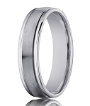 Designer 4 mm Engraved & Satin Finish 14K White Gold Wedding Band - JB1132
